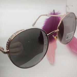 JOE'S JEANS Polarized Rose Gold Round Sunglasses